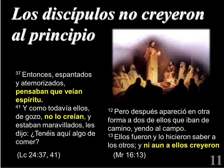 11 Los discípulos no creyeron al principio 37 Entonces, espantados y atemorizados, pensaban que veían espíritu. 41 41 Y como todavía ellos, de gozo, n