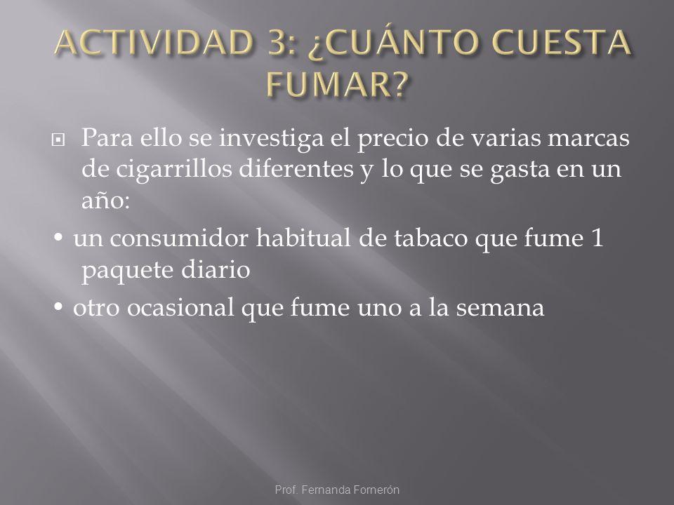 Para ello se investiga el precio de varias marcas de cigarrillos diferentes y lo que se gasta en un año: un consumidor habitual de tabaco que fume 1 p