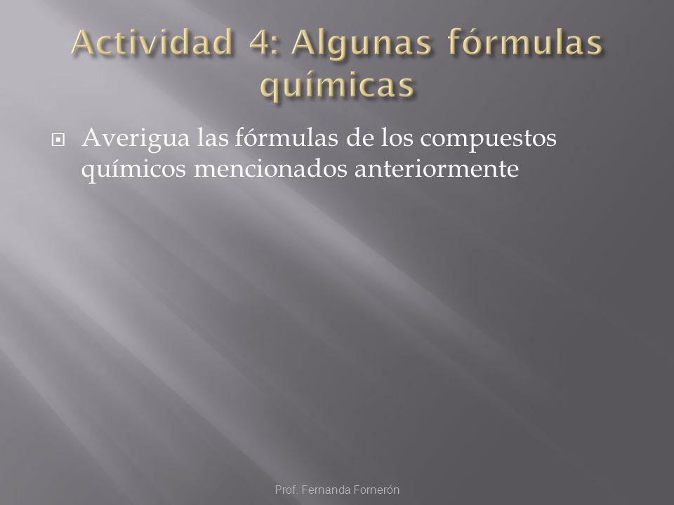 Averigua las fórmulas de los compuestos químicos mencionados anteriormente Prof. Fernanda Fornerón