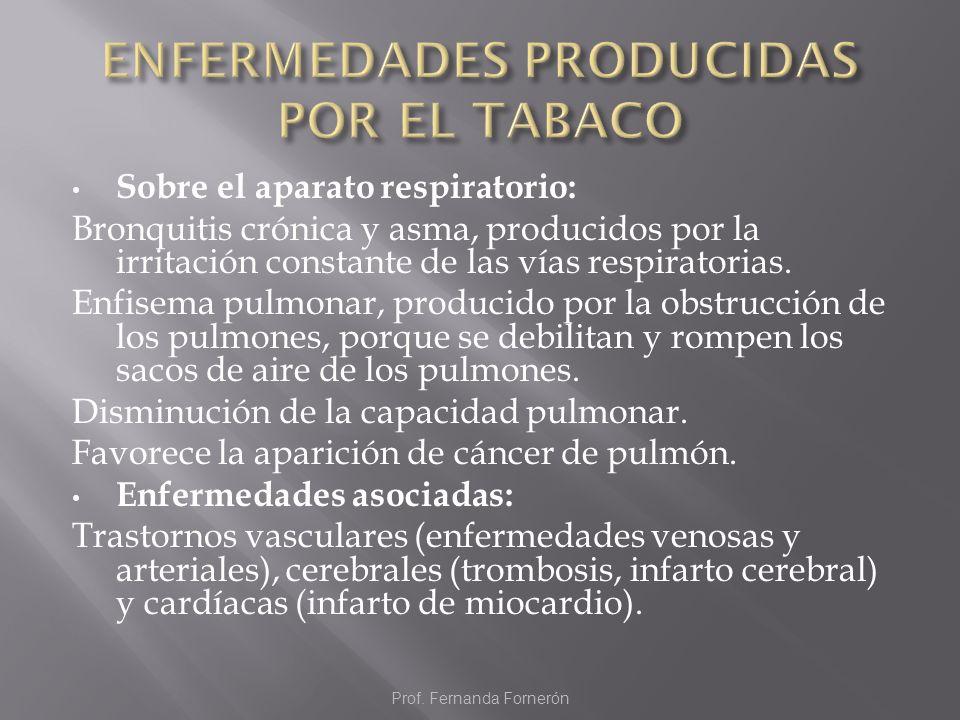 Sobre el aparato respiratorio: Bronquitis crónica y asma, producidos por la irritación constante de las vías respiratorias. Enfisema pulmonar, produci
