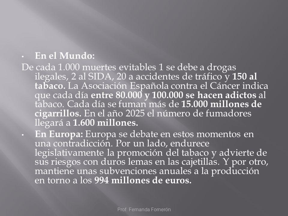 En el Mundo: De cada 1.000 muertes evitables 1 se debe a drogas ilegales, 2 al SIDA, 20 a accidentes de tráfico y 150 al tabaco. La Asociación Español