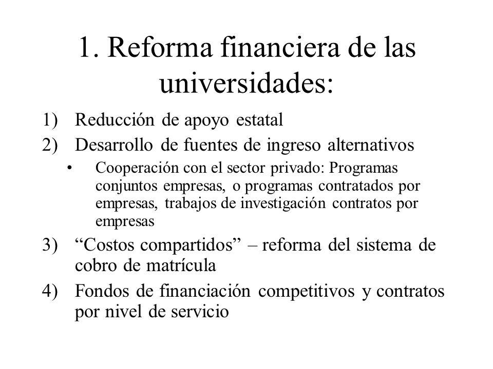 1. Reforma financiera de las universidades: 1)Reducción de apoyo estatal 2)Desarrollo de fuentes de ingreso alternativos Cooperación con el sector pri