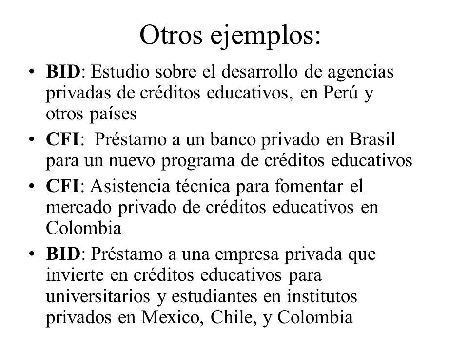 Otros ejemplos: BID: Estudio sobre el desarrollo de agencias privadas de créditos educativos, en Perú y otros países CFI: Préstamo a un banco privado