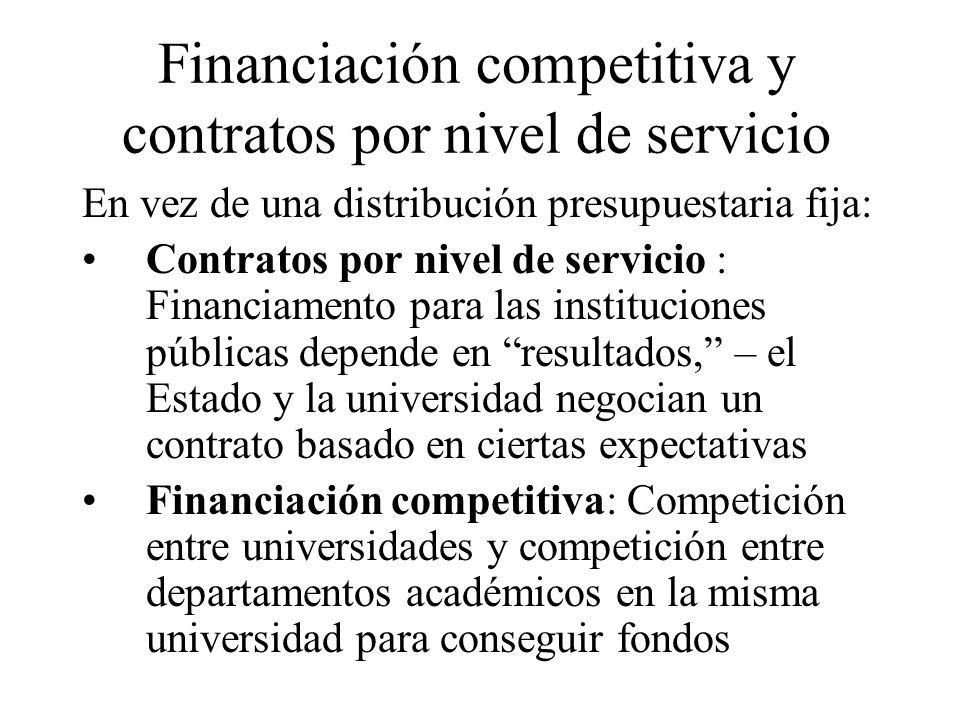 Financiación competitiva y contratos por nivel de servicio En vez de una distribución presupuestaria fija: Contratos por nivel de servicio : Financiam