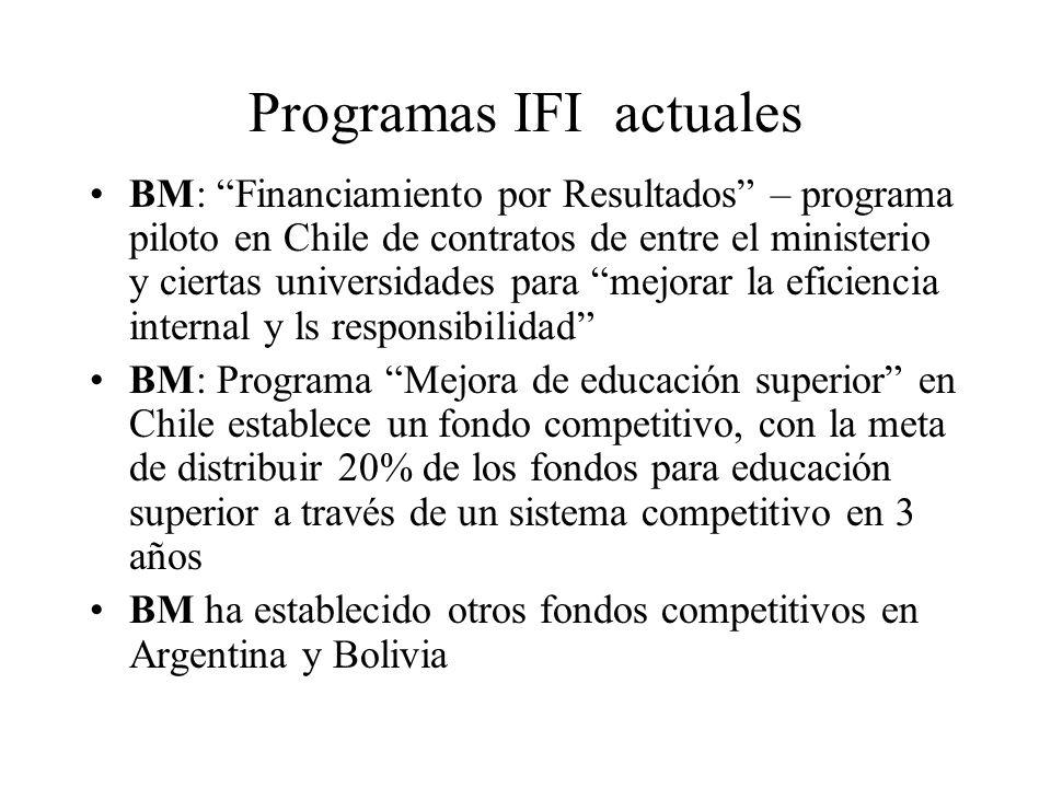 Programas IFI actuales BM: Financiamiento por Resultados – programa piloto en Chile de contratos de entre el ministerio y ciertas universidades para m