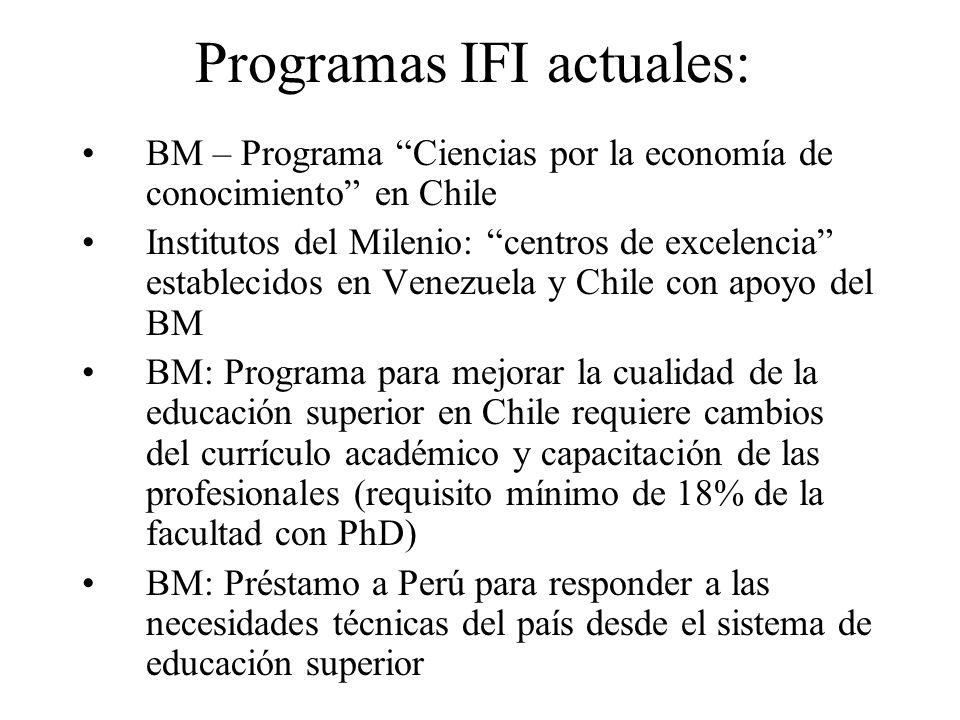 Programas IFI actuales: BM – Programa Ciencias por la economía de conocimiento en Chile Institutos del Milenio: centros de excelencia establecidos en