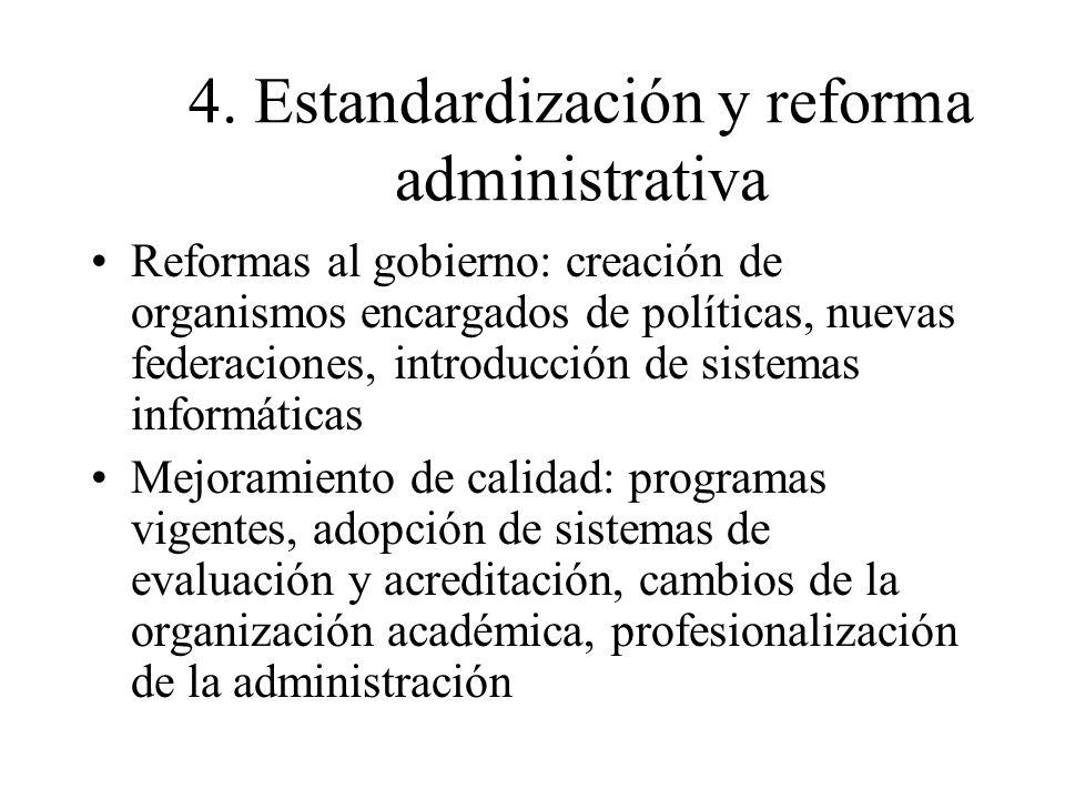 4. Estandardización y reforma administrativa Reformas al gobierno: creación de organismos encargados de políticas, nuevas federaciones, introducción d