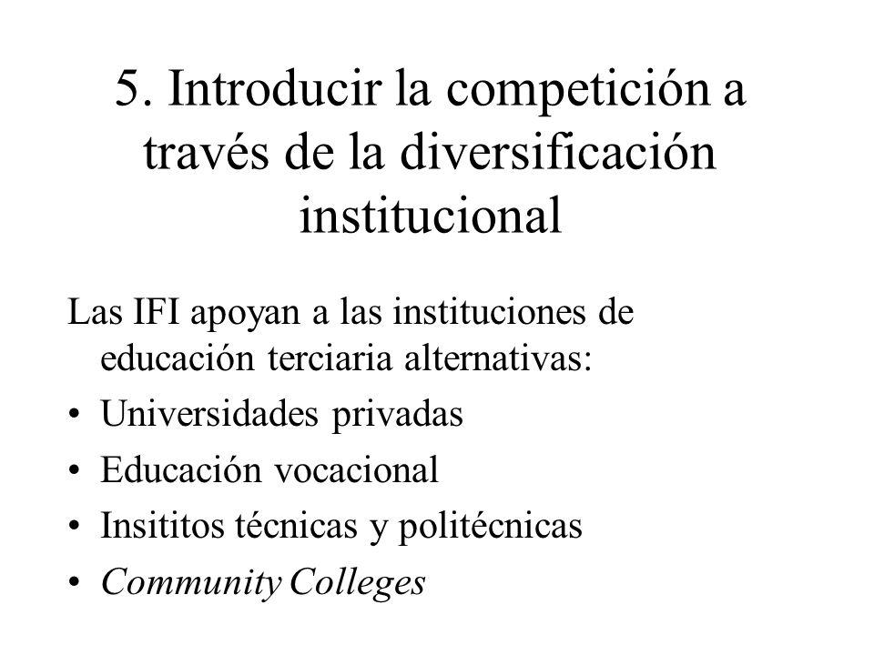 5. Introducir la competición a través de la diversificación institucional Las IFI apoyan a las instituciones de educación terciaria alternativas: Univ
