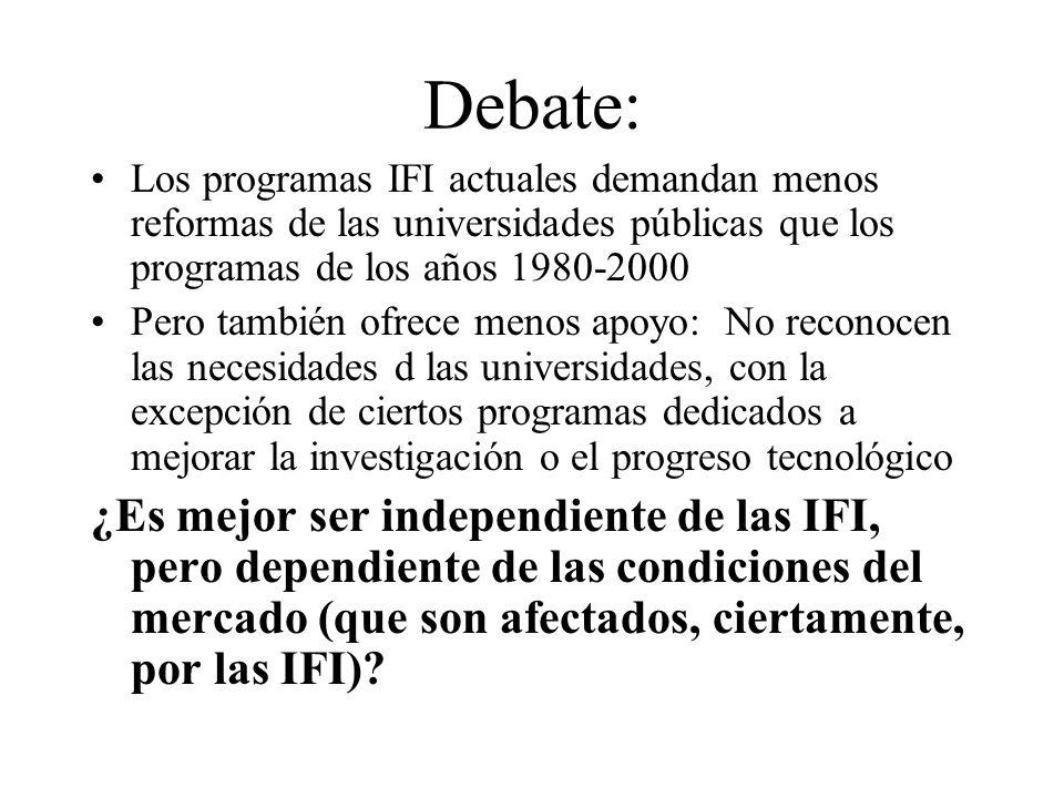 Debate: Los programas IFI actuales demandan menos reformas de las universidades públicas que los programas de los años 1980-2000 Pero también ofrece m