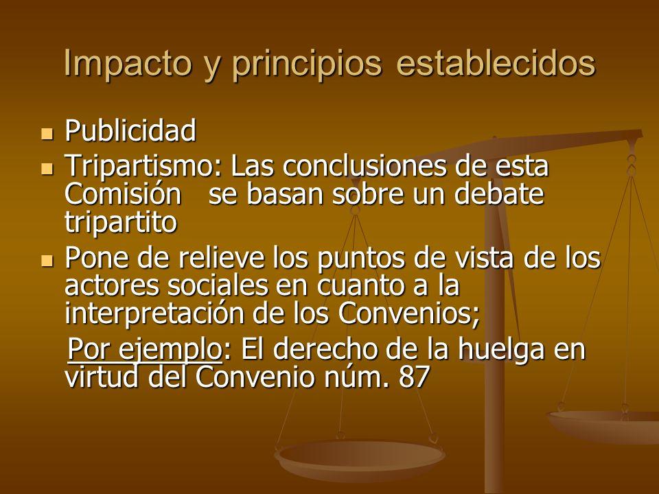 Impacto y principios establecidos Publicidad Publicidad Tripartismo: Las conclusiones de esta Comisión se basan sobre un debate tripartito Tripartismo