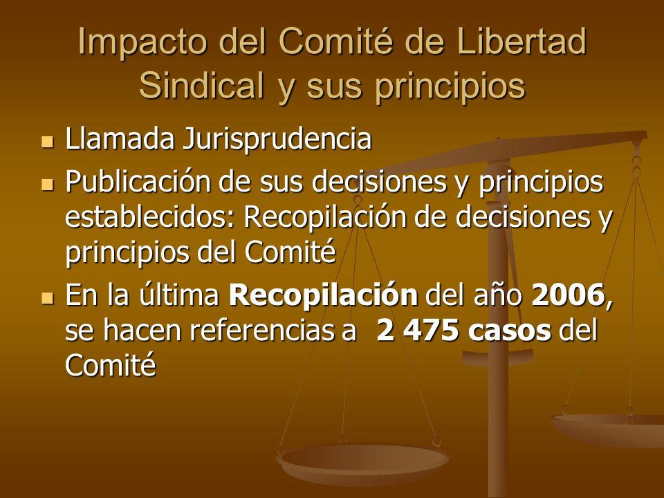 Impacto del Comité de Libertad Sindical y sus principios Llamada Jurisprudencia Llamada Jurisprudencia Publicación de sus decisiones y principios esta