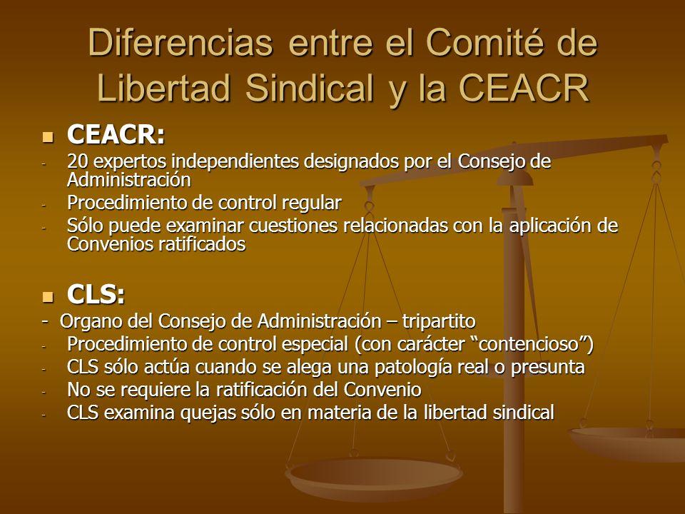Diferencias entre el Comité de Libertad Sindical y la CEACR CEACR: CEACR: - 20 expertos independientes designados por el Consejo de Administración - P