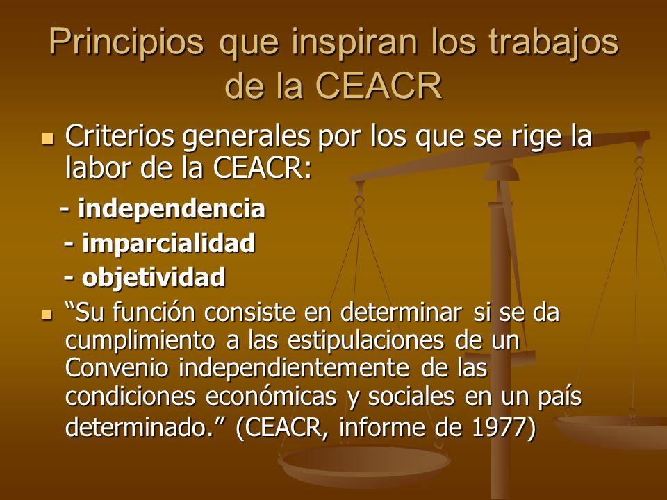 Principios que inspiran los trabajos de la CEACR Criterios generales por los que se rige la labor de la CEACR: Criterios generales por los que se rige