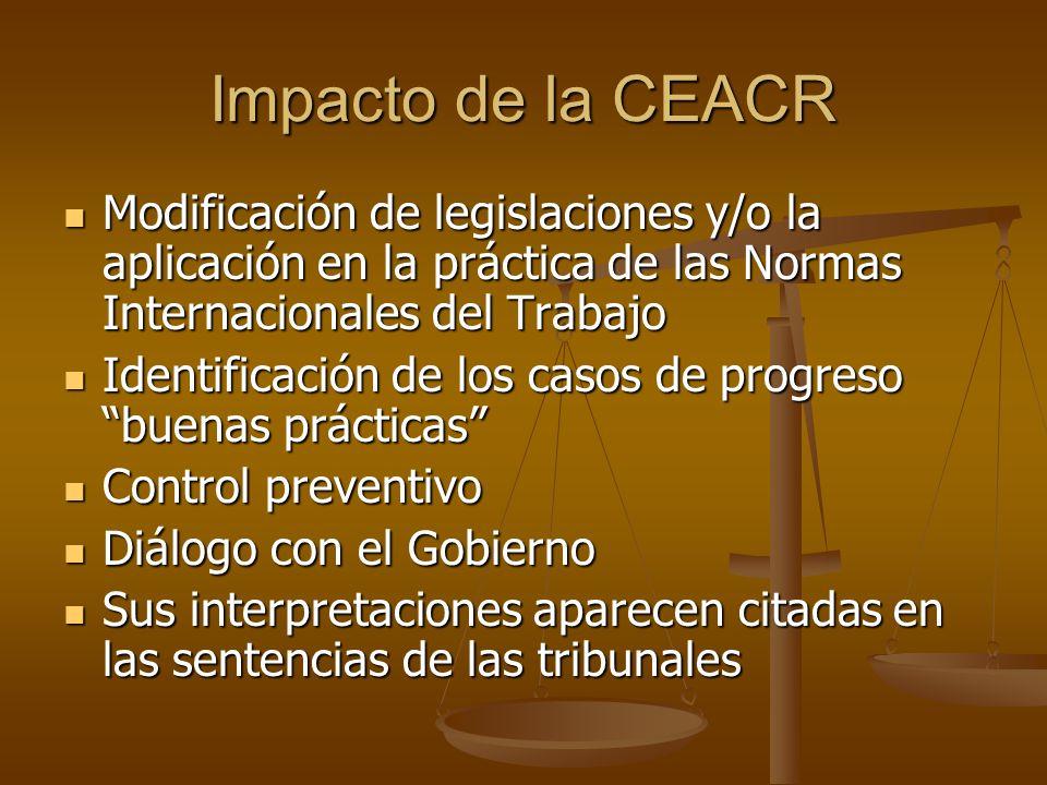 Impacto de la CEACR Modificación de legislaciones y/o la aplicación en la práctica de las Normas Internacionales del Trabajo Modificación de legislaci