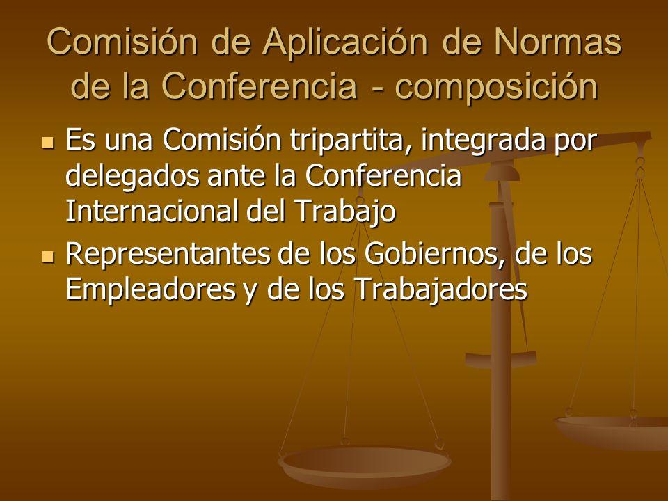 Comisión de Aplicación de Normas de la Conferencia - composición Es una Comisión tripartita, integrada por delegados ante la Conferencia Internacional