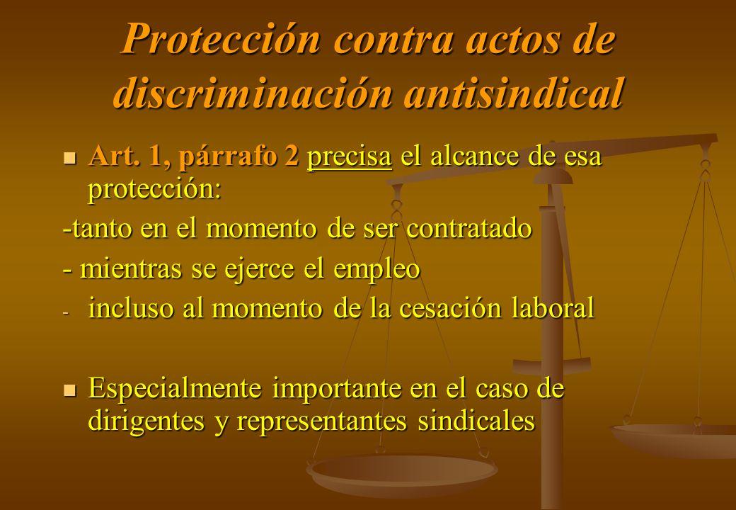 Protección contra actos de discriminación antisindical Art. 1, párrafo 2 precisa el alcance de esa protección: Art. 1, párrafo 2 precisa el alcance de