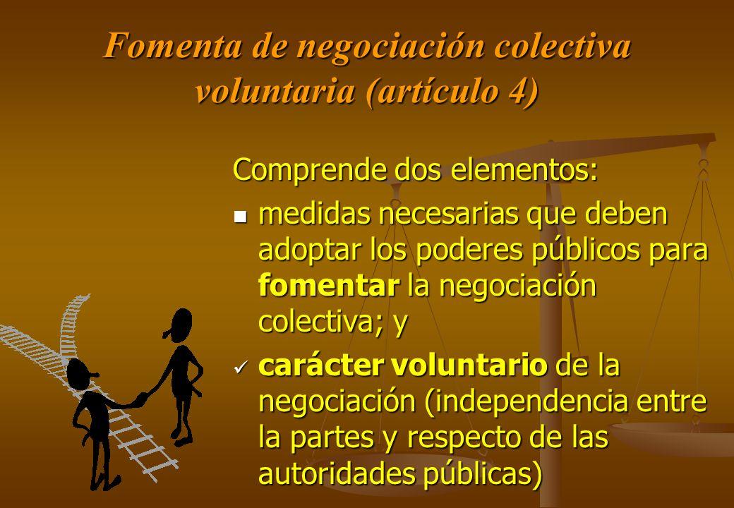 Fomenta de negociación colectiva voluntaria (artículo 4) Comprende dos elementos: medidas necesarias que deben adoptar los poderes públicos para fomen