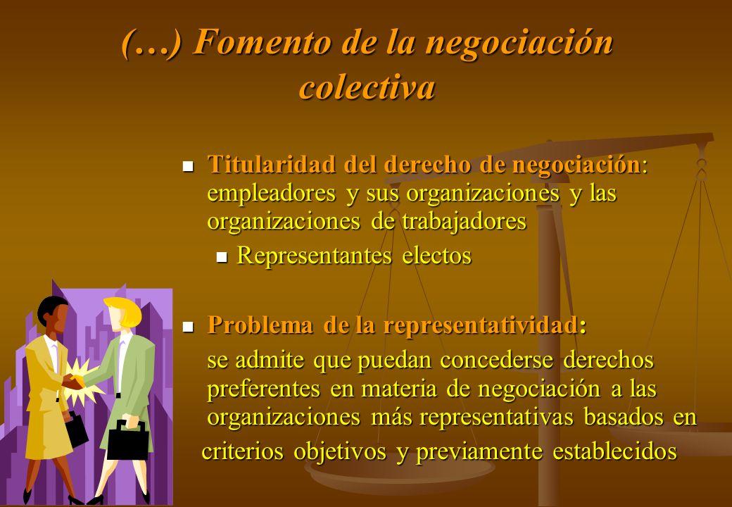 (…) Fomento de la negociación colectiva Titularidad del derecho de negociación: empleadores y sus organizaciones y las organizaciones de trabajadores