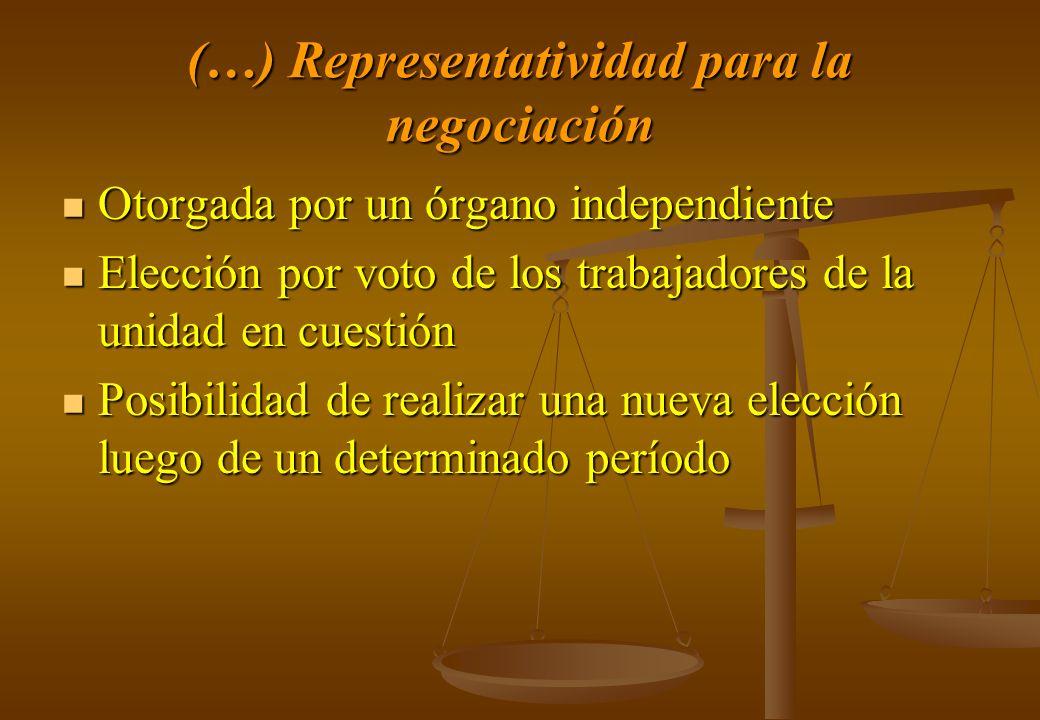 (…) Representatividad para la negociación Otorgada por un órgano independiente Otorgada por un órgano independiente Elección por voto de los trabajado