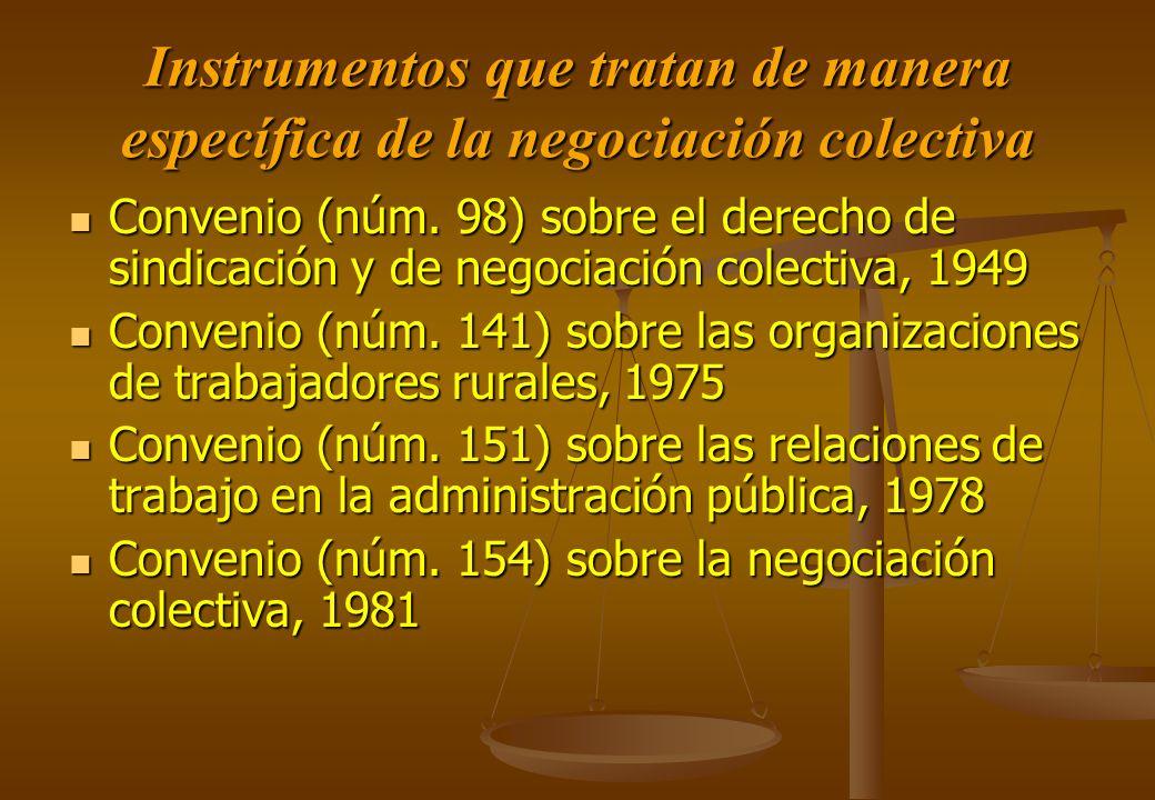 Instrumentos que tratan de manera específica de la negociación colectiva Convenio (núm. 98) sobre el derecho de sindicación y de negociación colectiva