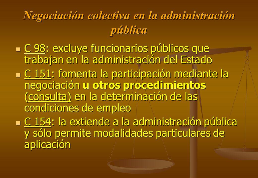 Negociación colectiva en la administración pública C 98: excluye funcionarios públicos que trabajan en la administración del Estado C 98: excluye func