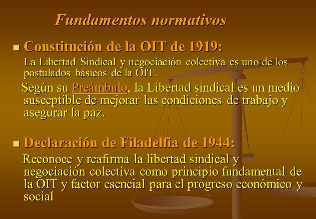 Fundamentos normativos Constitución de la OIT de 1919: Constitución de la OIT de 1919: La Libertad Sindical y negociación colectiva es uno de los post