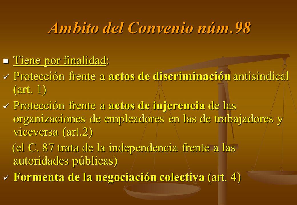Ambito del Convenio núm.98 Tiene por finalidad: Tiene por finalidad: Protección frente a actos de discriminación antisindical (art. 1) Protección fren