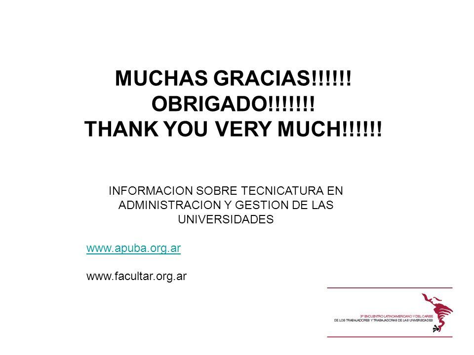 MUCHAS GRACIAS!!!!!! OBRIGADO!!!!!!! THANK YOU VERY MUCH!!!!!! INFORMACION SOBRE TECNICATURA EN ADMINISTRACION Y GESTION DE LAS UNIVERSIDADES www.apub
