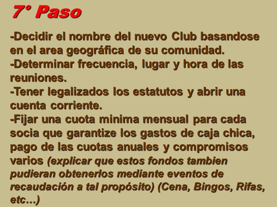 7° Paso -Decidir el nombre del nuevo Club basandose en el area geográfica de su comunidad. -Determinar frecuencia, lugar y hora de las reuniones. -Ten