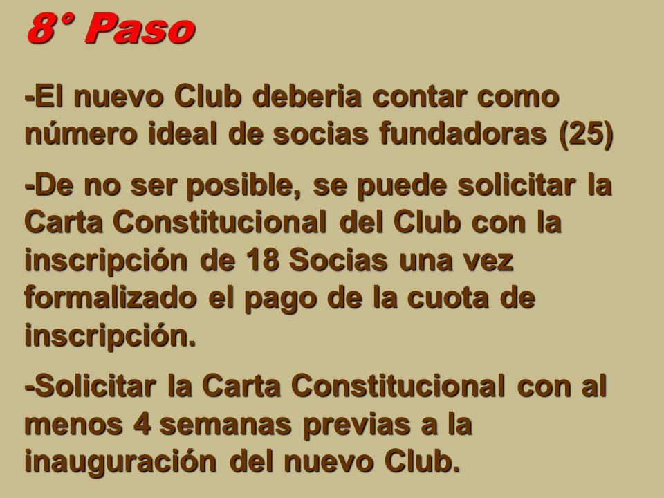 8° Paso -El nuevo Club deberia contar como número ideal de socias fundadoras (25) -De no ser posible, se puede solicitar la Carta Constitucional del C