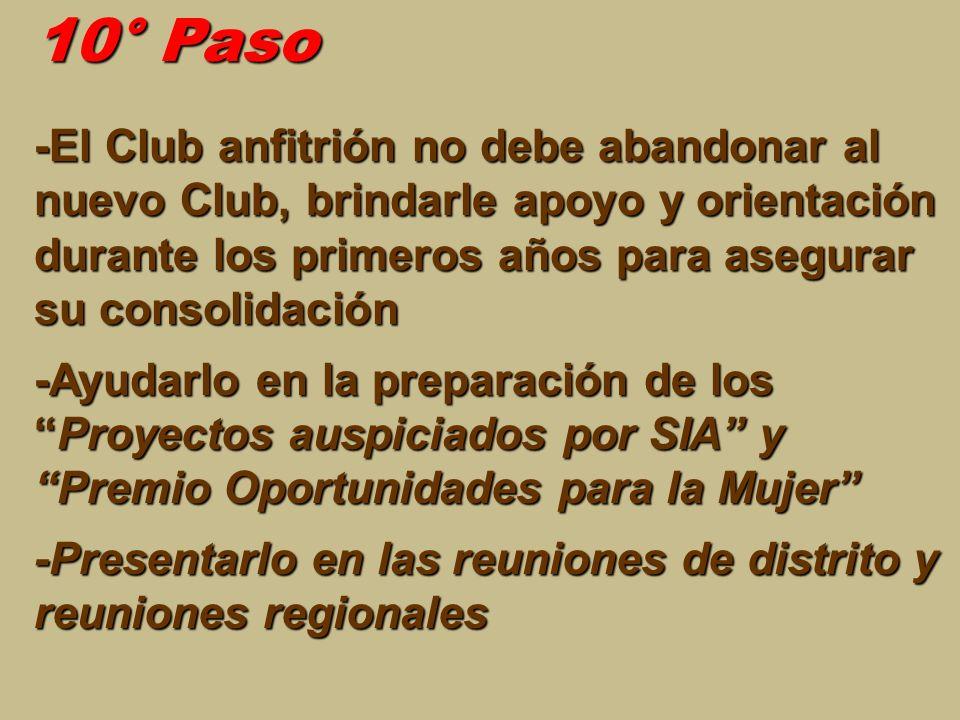 10° Paso -El Club anfitrión no debe abandonar al nuevo Club, brindarle apoyo y orientación durante los primeros años para asegurar su consolidación -A