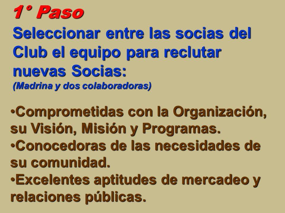 1° Paso Comprometidas con la Organización, su Visión, Misión y Programas.Comprometidas con la Organización, su Visión, Misión y Programas. Conocedoras
