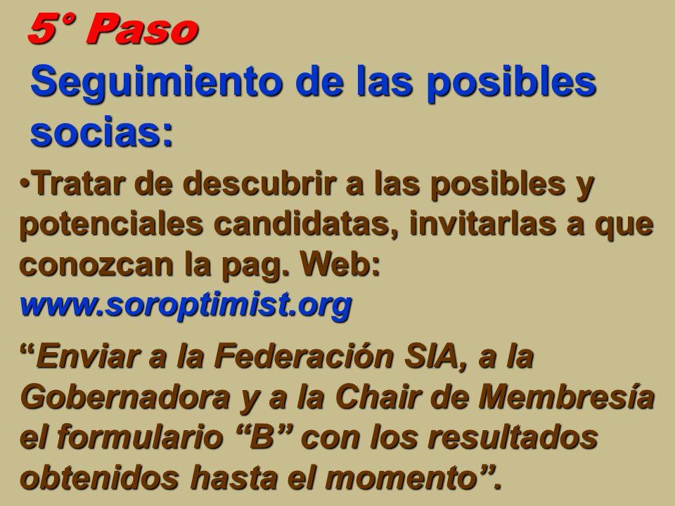 5° Paso Seguimiento de las posibles socias: Tratar de descubrir a las posibles y potenciales candidatas, invitarlas a que conozcan la pag. Web: www.so