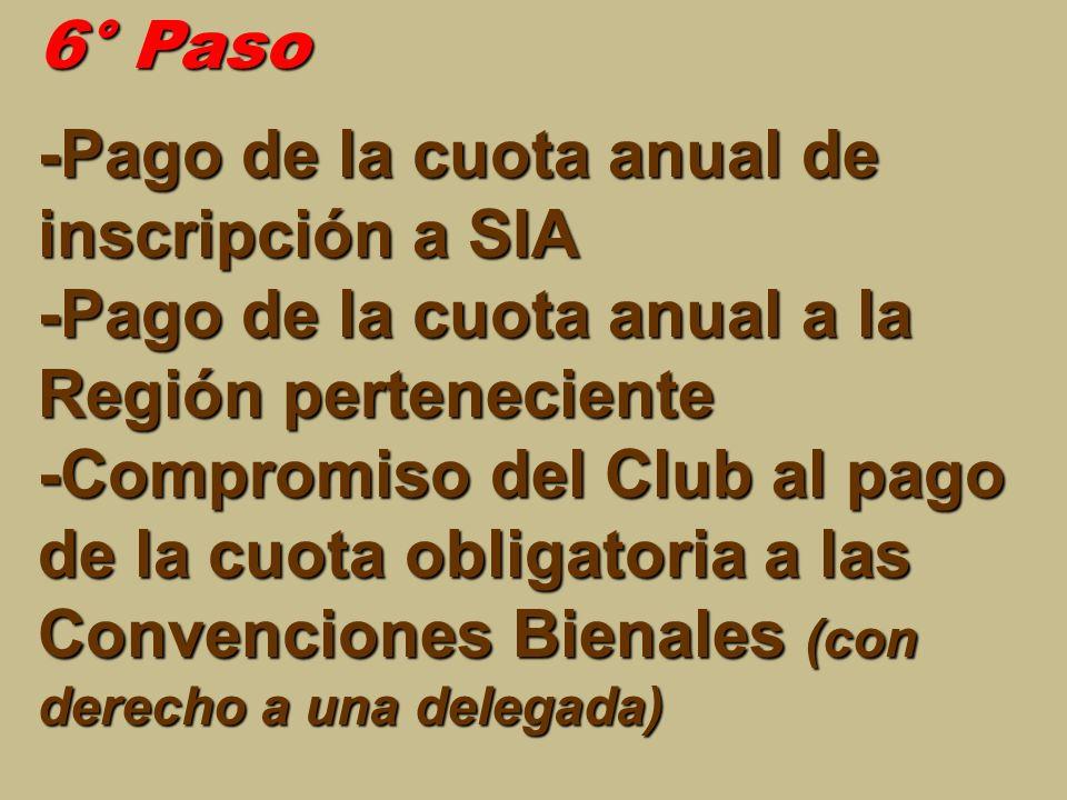 6° Paso -Pago de la cuota anual de inscripción a SIA -Pago de la cuota anual a la Región perteneciente -Compromiso del Club al pago de la cuota obliga