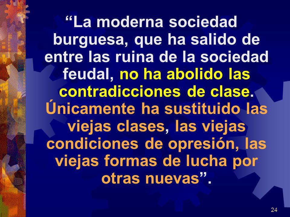 La moderna sociedad burguesa, que ha salido de entre las ruina de la sociedad feudal, no ha abolido las contradicciones de clase. Únicamente ha sustit