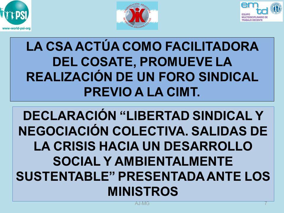 DERECHOS FUNDAMENTALES LA ELIMINACIÓN DEL TRABAJO FORZOSO (29 y 105) LA ELIMINACIÓN DE LA DISCRIMINACIÓN EN MATERIA DE EMPLEO Y OCUPACIÓN (100 y111) LA ABOLICIÓN EFECTIVA DEL TRABAJO INFANTIL (138 y 182) LIBERTAD SINDICAL LIBERTAD DE ASOCIACIÓN NEGOCIACIÓN COLECTICA (87 y 98) 28AJ-MG