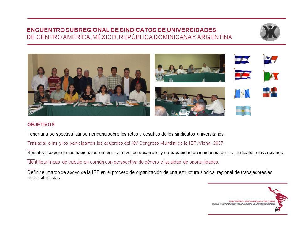 ENCUENTRO SUBREGIONAL DE SINDICATOS DE UNIVERSIDADES DE CENTRO AMÉRICA, MÉXICO, REPÚBLICA DOMINICANA Y ARGENTINA OBJETIVOS ___ Tener una perspectiva l