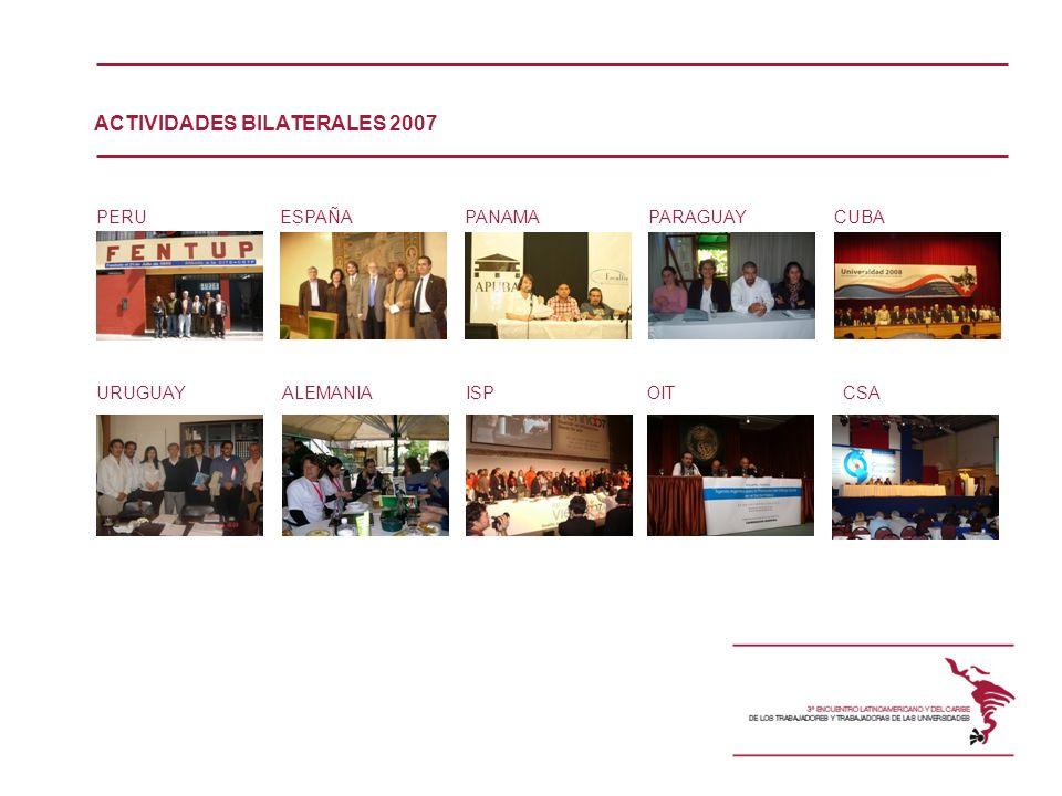 PERUESPAÑAPANAMAPARAGUAYCUBA ALEMANIAURUGUAYISPOITCSA ACTIVIDADES BILATERALES 2007