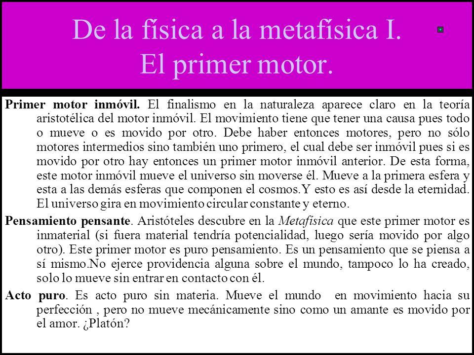 De la física a la metafísica I.El primer motor. Primer motor inmóvil.