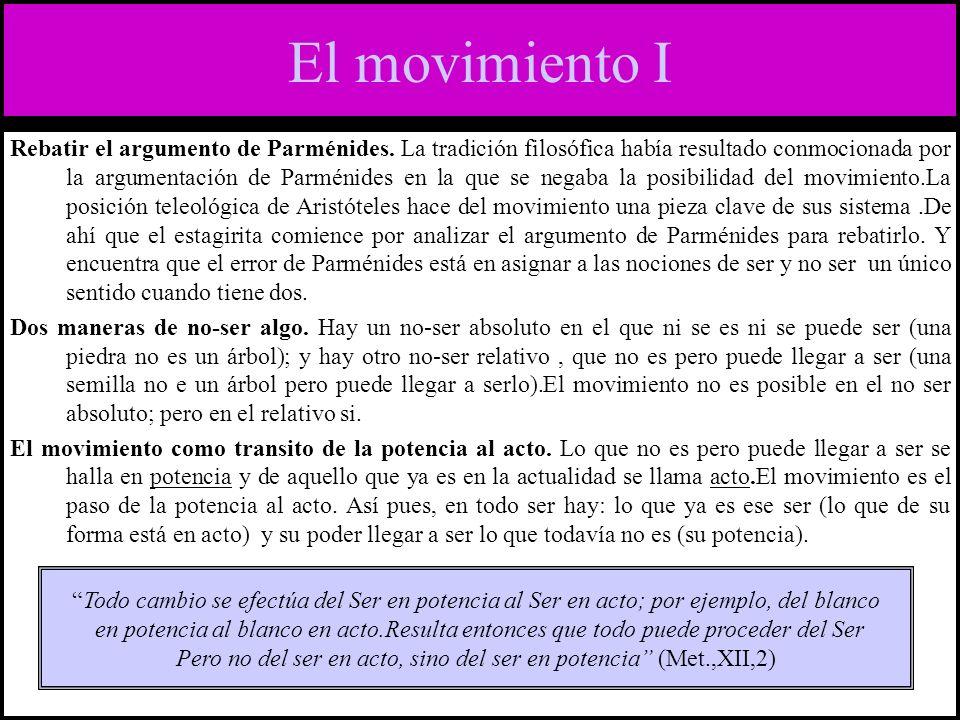 El movimiento II Potencia (dynamis) hay de dos tipos.
