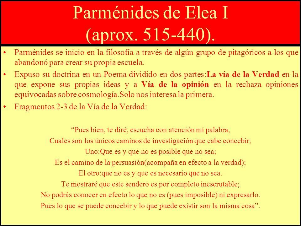 Parménides de Elea I (aprox. 515-440). Parménides se inicio en la filosofía a través de algún grupo de pitagóricos a los que abandonó para crear su pr