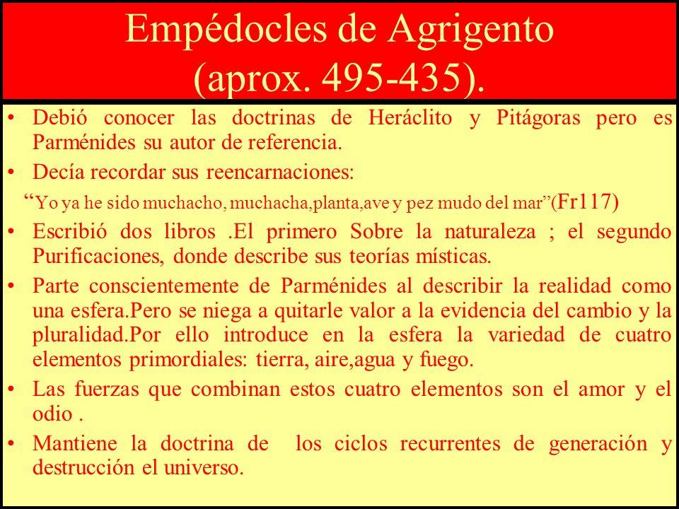 Empédocles de Agrigento (aprox. 495-435). Debió conocer las doctrinas de Heráclito y Pitágoras pero es Parménides su autor de referencia. Decía record