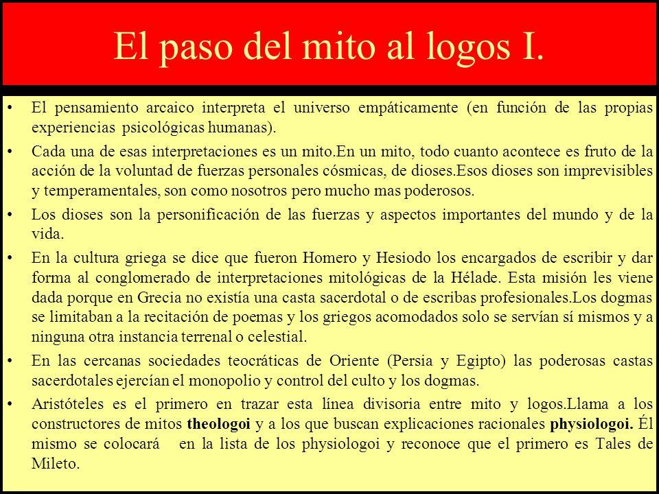 El paso del mito al logos I. El pensamiento arcaico interpreta el universo empáticamente (en función de las propias experiencias psicológicas humanas)