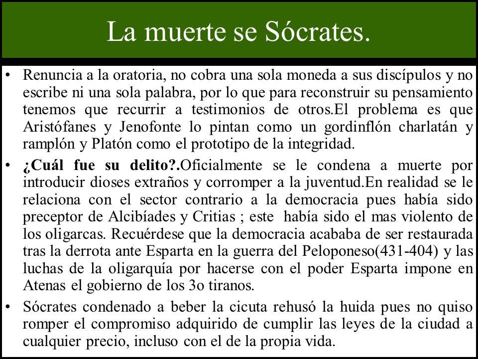 La muerte se Sócrates. Renuncia a la oratoria, no cobra una sola moneda a sus discípulos y no escribe ni una sola palabra, por lo que para reconstruir