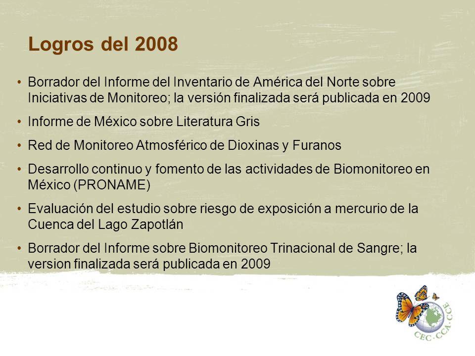 Logros del 2008 Borrador del Informe del Inventario de América del Norte sobre Iniciativas de Monitoreo; la versión finalizada será publicada en 2009