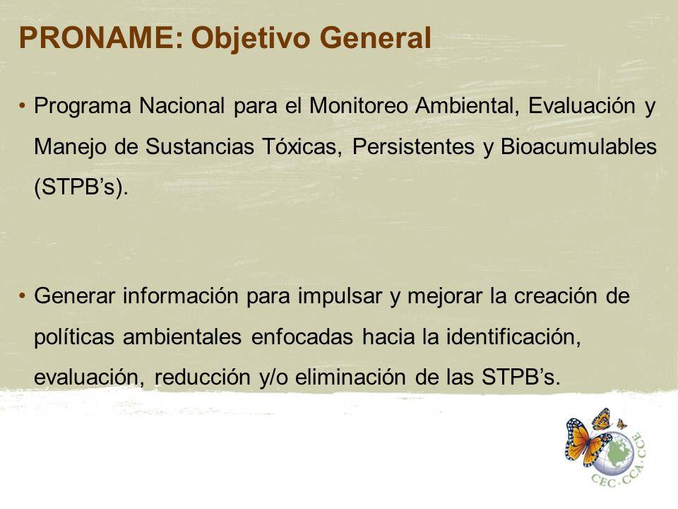 PRONAME: Objetivo General Programa Nacional para el Monitoreo Ambiental, Evaluación y Manejo de Sustancias Tóxicas, Persistentes y Bioacumulables (STP