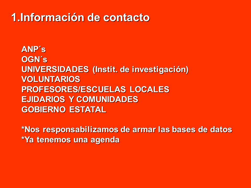 1.Información de contacto ANP´sOGN´s UNIVERSIDADES (Instit. de investigación) VOLUNTARIOS PROFESORES/ESCUELAS LOCALES EJIDARIOS Y COMUNIDADES GOBIERNO