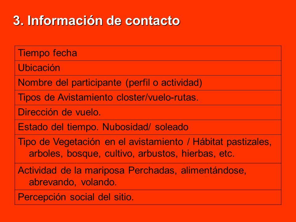 3. Información de contacto Tiempo fecha Ubicación Nombre del participante (perfil o actividad) Tipos de Avistamiento closter/vuelo-rutas. Dirección de