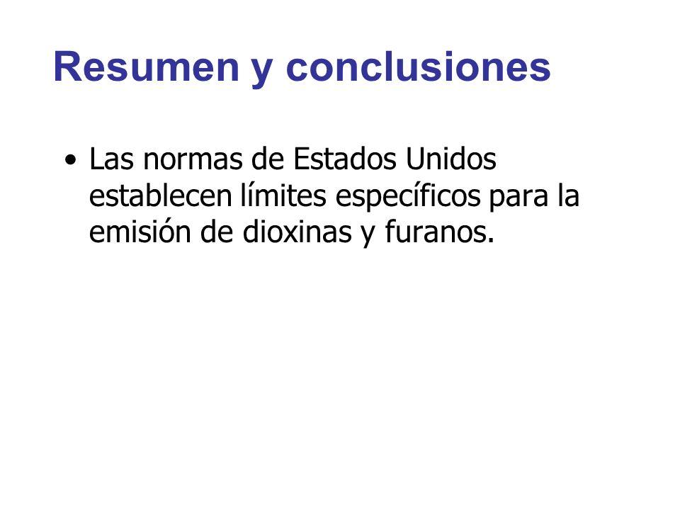Resumen y conclusiones Las normas de Estados Unidos establecen límites específicos para la emisión de dioxinas y furanos.