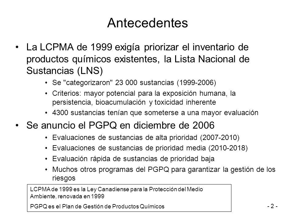 - 2 - Antecedentes La LCPMA de 1999 exigía priorizar el inventario de productos químicos existentes, la Lista Nacional de Sustancias (LNS) Se